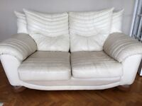 Cream Leather 2 Piece Sofa