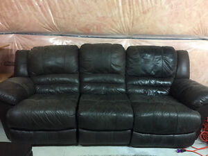 Leather couch with two recliners