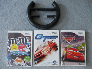 3 Wii Games - M&M Kart Racing, GT ProS and Cars w Steering Wheel