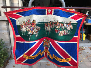 VINTAGE 2ND DRAGOONS SCOTS GREYS WATERLOO WALL TAPESTRY HANGING