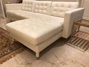 LANDSKRONA Sofa Sectional 4-seat w/ chaise White Leather $1000