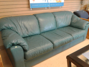 Genuine Leather Green Couch