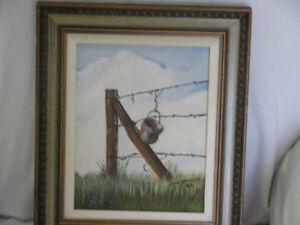 Peinture sur toile représentant une petite chaudière