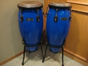 PAIR OF CONGA DRUMS ON STANDS