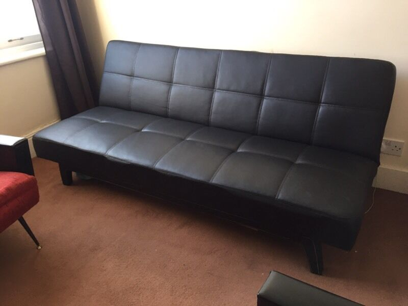 7star Jack White Sching With Boarders Black Faux Leather Sofa Bed