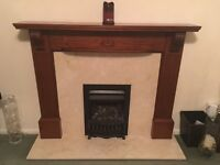 Mahogany wood fire surround, with marble.