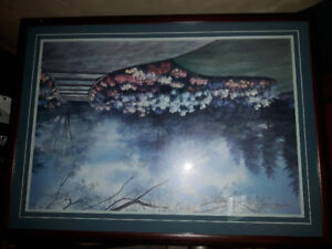 Picture 42 1/2 x 31 inches.  Mahogany colored frame.  $75.00