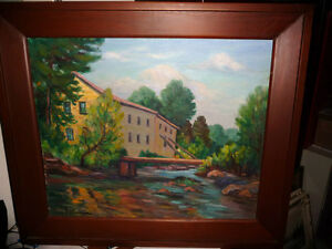 "Inez Buchanan ""Old Mill At Acton"" 1954 Original Oil Painting"