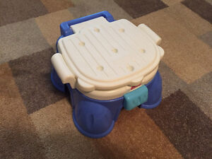 Potty chair, potty ring & stepstool—all in one. By Fisher-Price