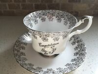 Royal Albert Silver & White 25th Anniversary Cup and Saucer Set