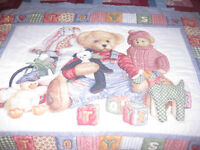 Blue Jean Teddy Bear Bedroom Quilts and decorations