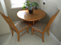 Oak Kitchen / Dining Room Set with 2 Chairs