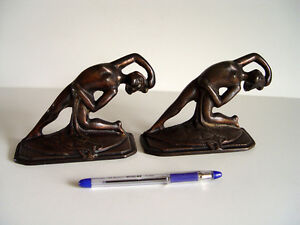 Original 1920's pair of Deco Figural Nude Bookends