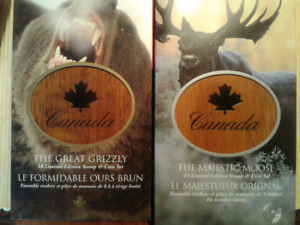RCM STAMP AND COIN SETS  - THE GREAT GRIZZLY AND MAJESTIC MOOSE