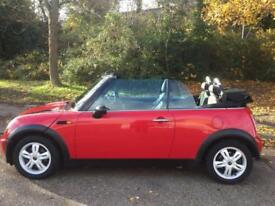 MINI ONE CONVERTIBLE IN PEPPER RED 2008 REG 12 MONTHS MOT WITH ELECTRIC ROOF