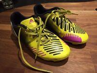 Boys Adidas Predito firm ground football boots, size 3