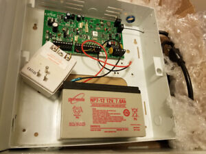 Paradox Security System Box, Battery and 2 Glass Break Sensors
