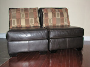 Matching chair set - dark brown with pillow back