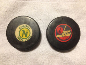Winnipeg Jets and Minnesota North Stars  Viceroy NHL Game Pucks