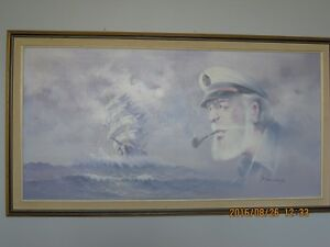 ** SAILOR & BOAT P.JENKINS OIL PAINTING**
