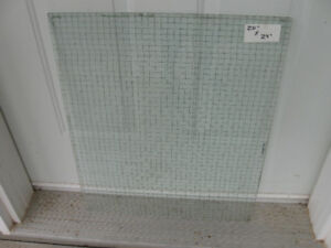 TWO PCS. HEAVY CLEAR PLATE GLASS with WIRED INTERIOR