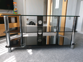 Chrome and Black TV Stand