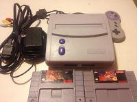 SNES Mini avec une manette et deux jeux