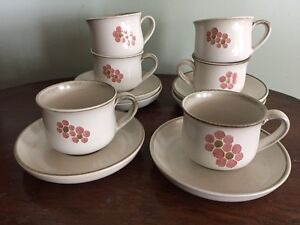6 Vintage Denby pottery cups and saucers