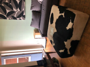 Coffee table real cow fur