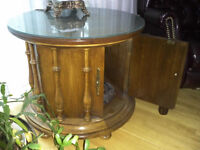 Solid Oak Barrel Style Side Table with Custom Glass Top