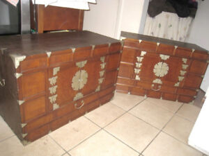2 Antique Solid Wood Trunks, $290 for both