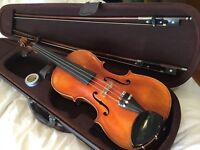 Full size violin, two bows and case. Hamilton Caswell.