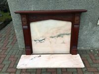 Hard Wood Fire Surround and Marble Hearth & Matching Back Insert