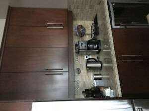 Kitchen cabinets /Granite Island/Counter /4 leather bar stools