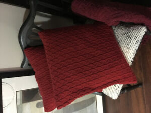 Decorative red throw pillows
