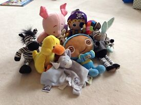 Soft baby toys including elmer, piglet and waybaloo