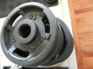 315 lb set of Olympic plates (VTX) plus Olympic EZ curl bar