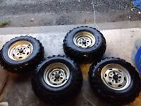 """4  24"""" Maxxis four wheelers tires and rims for sale $200"""