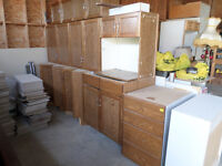 Kitchen cabinets with granite counter tops.