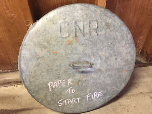 Galvanized Steel CNR Garbage Can Lid - Canadian National Railway