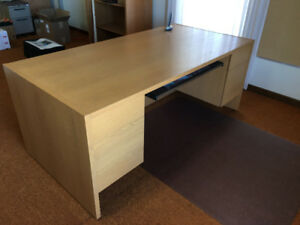 Executive Desk, Armoire, Storage Cabinet Oak Veneer Finish