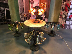 """STYLE AT HOME 16"""" HAND BLOWN 6 ARM LILY ACCENT LAMPS - FJN"""