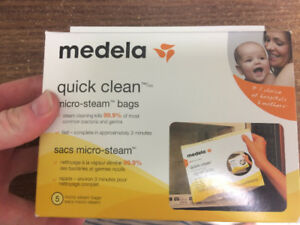 3 Medela quick clean bags microwave steam sterilizing