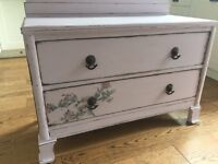 Pale pink shabby chic vintage chest of drawers cabinet sideboard cupboard girls bedroom