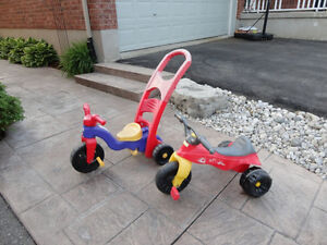 Pair of Toddlers Ride On Trike- One with a parent Handle Kitchener / Waterloo Kitchener Area image 1