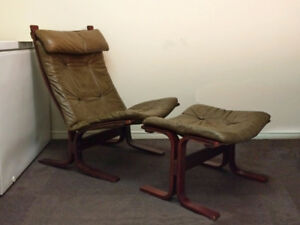 Vintage MCM Westnofa Style Bentwood Lounge Chair and Ottoman
