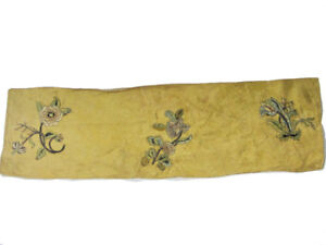 Antique French Embroidered Panel on Yellow Damask Silk