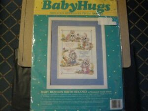 Cross Stitch Kit - Baby Birth Announcement with bunnies