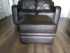 Chase Faux Leather Loveseat and Ottoman in Brown