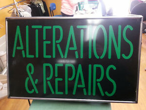 "Neon Green ""Alterations & Repairs"" Sign"